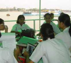 Educational river cruise for school children from Modern High School, Kolkata
